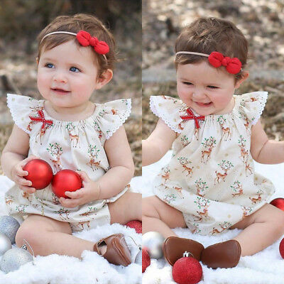 AU Newborn Baby Girls Christmas Deer Romper Bodysuit Jumpsuit Outfit Clothes Set