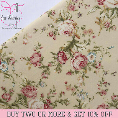 Ivory, Cream Floral 100% Cotton Poplin Fabric Rose and Hubble Vintage Fabrics