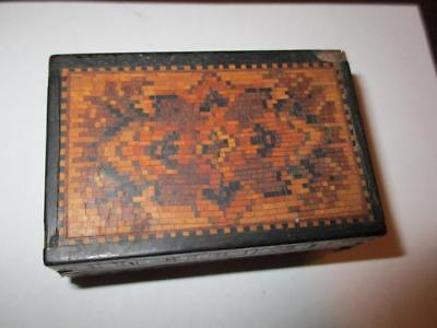 Antique Inlaid Timber wood crafted Trinket Pill Box 63mm x 40mm