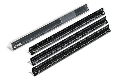 Rulex 30cm metric black metal triangular architects scale ruler
