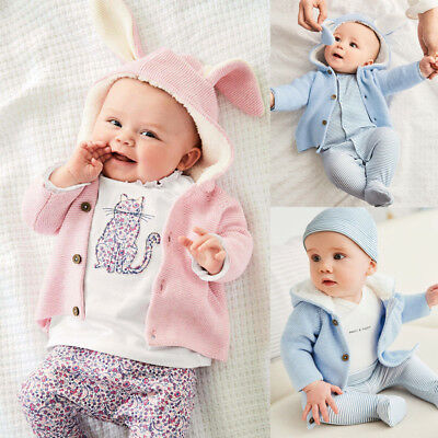 AU Newborn Infant Baby Girls Boy 3D Ear Knitted Sweater Cardigan Coat Outerwear
