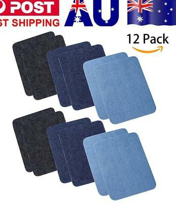 12 Pcs Iron On Denim No-Sew Shades Patches For Clothing Jeans, 4.9 X 3.7 Inch