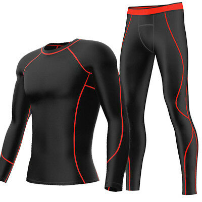 Mens Compression Shirts Pants Gym Clothes Muscle Sport Suit Base Layers Tights