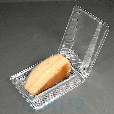 Cake Slice Wedges Container Box with Sporks, Clear Plastic Hinged Takeaway Deli
