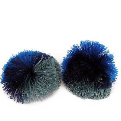 Girls kids children pom pom fluffy Silky pair of Pom Poms, Craft Trio Blue  P4