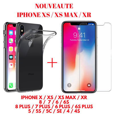 Coque Silicone TPU + Verre Trempé Film Ecran iPhone X XS MAX XR 8 7 6 PLUS 5 4