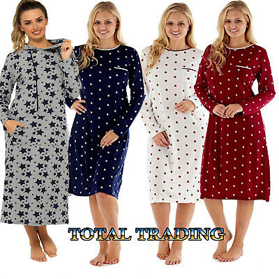 Ladies womens long  Sleeve Night Shirt Nightdress Nightie new winter soft