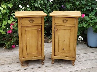 Pair Of Old Antique Pine Bedside Cabinets/tables/cupboards. We Deliver - PAIR OF PINE Bedside Cabinets - £31.12 PicClick UK