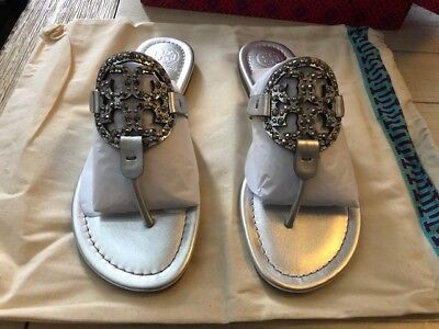 1762258bd45 NIB TORY BURCH Miller Embellished Crystal Stud Leather Sandal Silver ...