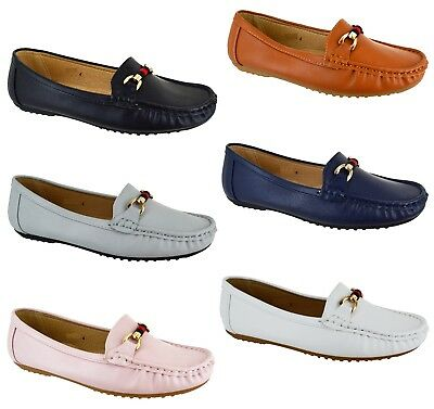 Ladies Winter Comfy Flat Shoes Womens Designer Loafer Work Buckle Stylish Pumps