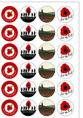 Remembrance Day 24 Precut Fairy Bun Decorations Poppy Edible Cup Cake Toppers