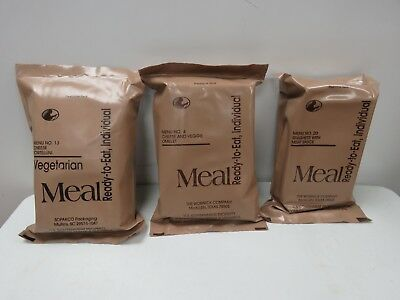 Lot of 3 Genuine USGI Military Surplus MRE Meal Ready to Eat     H752K