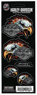 Harley Davidson Eagle Decal Sticker Sheet of 5 Logos New Window Toolbox Laptop