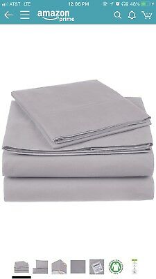 NEW Pinzon 300 Thread Count Organic Cotton Sheet Set - Twin Xl Dove Grey TAXFREE