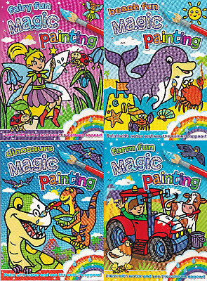 4 X Magic Painting Books: Dinosaurs, Farm, Fairy & Beach Fun - New A4 Paperbacks