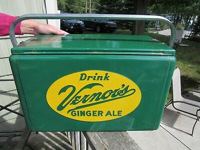 ORIGINAL 1950's VERNORS GINGER ALE EMBOSSED COOLER DOUBLE SIDED W TRAY EXC RARE