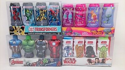 Marvel Avengers Star Wars Trolls Transformers Bath & Shower Gel Set 4 x 75ml