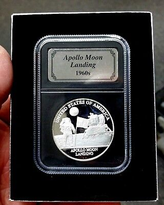 1960s Apollo Moon Landing 1 Troy Oz. Silver Bullion Coin and Display Box
