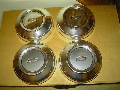 """4 Oem Chevrolet Chevy Dog Dish Hubcaps New Unused 10 3/4"""" Beautiful!"""