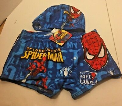 Marvel Spiderman Boys Swim Trunks and Swim Hat  Size 5