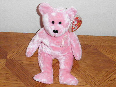 Ty Beanie Baby (Breast Cancer) Awareness the Bear, 10-27-2006, MWMT, Retired