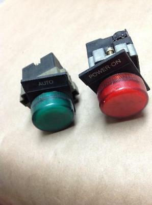 Telemecanique Red / Green Push Button Indicator Lights Lot of 2  USNP (B112)