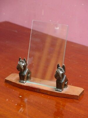 """SMALL ANTIQUE FRENCH CARVED OAK """"PAIR of SCOTTIE DOGS"""" PHOTOGRAPH FRAME"""