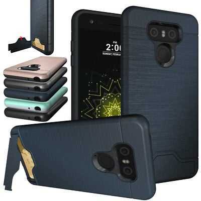 Hybrid Shockproof Tough Card Slot Holder Silicone TPU Armor Stand Case For LG G6