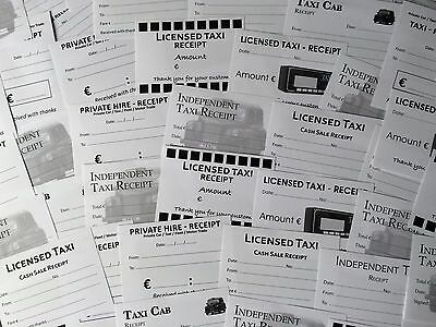 EURO € Taxi receipts expenses blanks, 10 different designs, 50 receipts in total