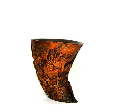 Important 19th c Qing Chinese Highly Carved Bamboo Liberation Cup Form Brush Pot
