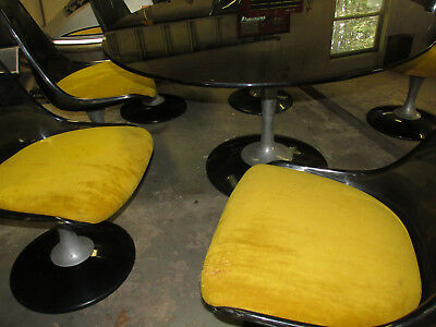 MidCentury Modern CHROMCRAFT DINING TABLE SET 6 CHAIRS Smoked Glass Table Lucite