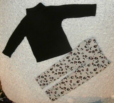 Nwt Gymboree Girls Size 3T Kitty In Pink Leopard Pants Black Turtleneck Top New