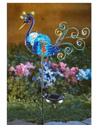 Metal Peacock Outdoor Decor LED Solar Light Garden Statue Blue Bird Yard  Stake