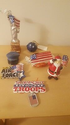 Seven Brand New Patriotic Air Force Christmas Ornaments