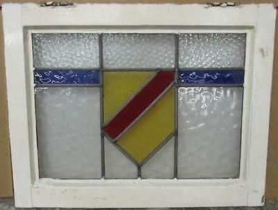 "OLD ENGLISH LEADED STAINED GLASS WINDOW Nice Shield & Band 20.75"" x 16.25"""