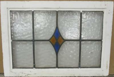 """MID SIZED OLD ENGLISH LEADED STAINED GLASS WINDOW Pretty Diamonds 25"""" x 17.5"""""""
