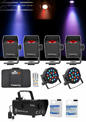 Chauvet DJ Freedom H1 X4 (4) Wireless Wash Lights+Bag+Charger+Remote+Fogger+Cans