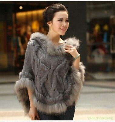 Women Faux Fur Sweater Casual Coat Knit Pullovers Loose Cape Vogue Poncho Warm Y