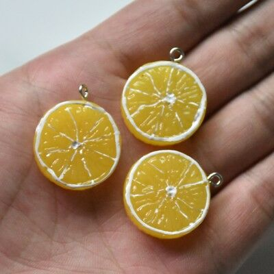 10X Yellow Lemon Slice Resin Charm Pendant 28*23mm For DIY Earrings/Bracelet