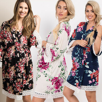 Beige/Blue/Black Ladies Stylish Floral Lace Trim Delivery/Nursing Maternity Robe