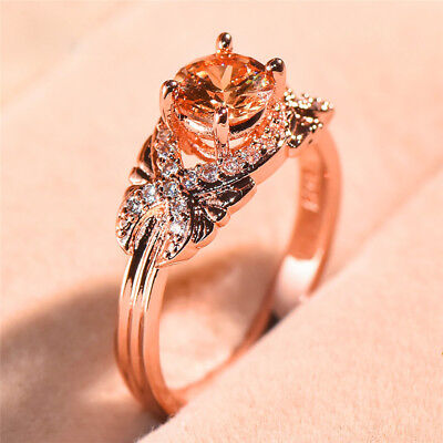 Gorgeous Wedding Rings for Women Rose Gold Filled Round Cut Citrine Size 6-10