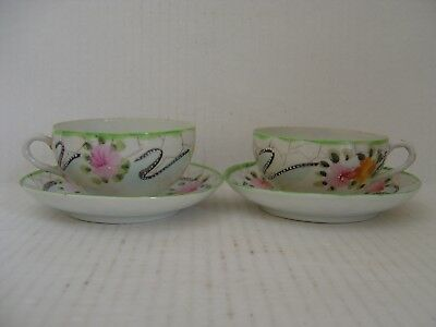 Vintage Pair Of Japanese Hand Painted Cups And Saucers Floral Pattern