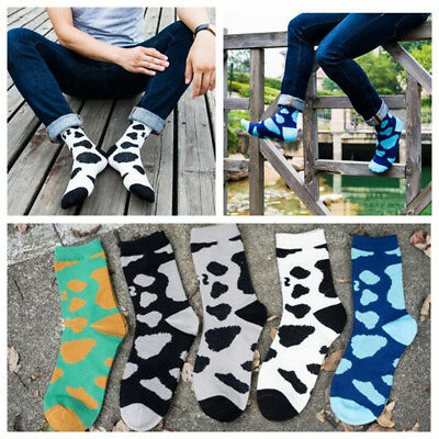 5 Pairs Mens Cotton Socks Lot Milk Cow Pattern Novelty Casual Dress Happy Sock