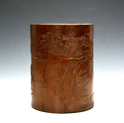 Vintage Chinese Carved Scholar Figure in Lecture Bamboo Brush Pot