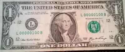 EXTREMELY Low serial number (first 100),L00000100B, US $1 dollar 2006