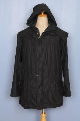Mens BARBOUR Durham Hooded Waxed Jacket Navy Size 42 Large