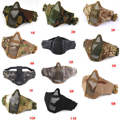 Tactical Airsoft Half Face Paintball Masks Military Army Metal Steel Mesh Adjust