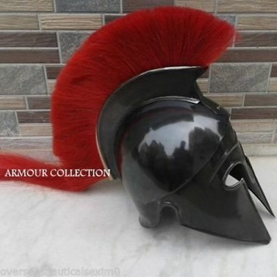 Greek Black Corinthian Helmet Red Plume Medieval Armour Crusader Movie Role play