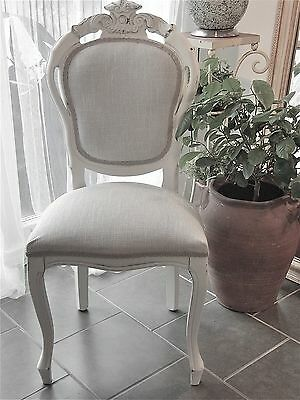 French Louis Style Shabby Chic Dining/Bedroom Chair In Grey Laura Ashley Fabric