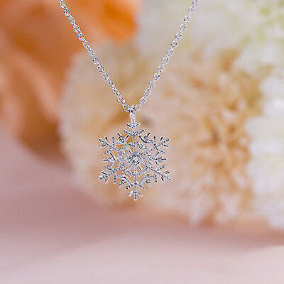 Xmas Silver Frozen Snowflake Crystal Pendant Chain Necklace Charm Christmas SL